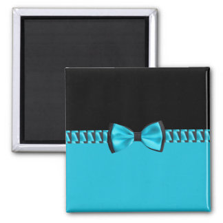 Turquoise Blue & Black Classy Bow Tie & Ribbon 2 Inch Square Magnet