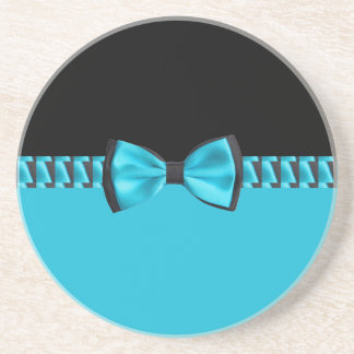 Turquoise Blue & Black Classy Bow Tie & Ribbon Coaster