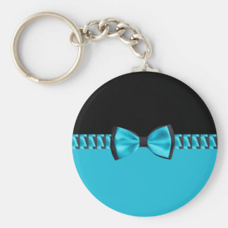 Turquoise Blue & Black Classy Bow Tie & Ribbon Keychain