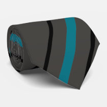 Turquoise Blue & Black Grey Striped Tie