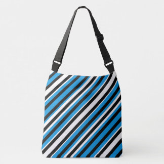 Turquoise Blue Black Striped Shoulder Bag Tote