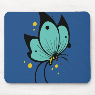 Turquoise Blue Black Yellow Butterfly Flecked Mouse Pad