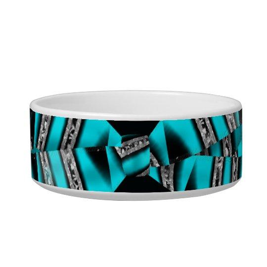 Turquoise Blue & Black Zebra Glitter Stripes Bowl