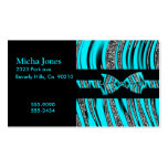 Turquoise Blue & Black Zebra Glitter Stripes Double-Sided Standard Business Cards (Pack Of 100)