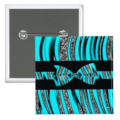 Turquoise Blue & Black Zebra Glitter Stripes Pinback Button