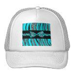 Turquoise Blue & Black Zebra Glitter Stripes Mesh Hats