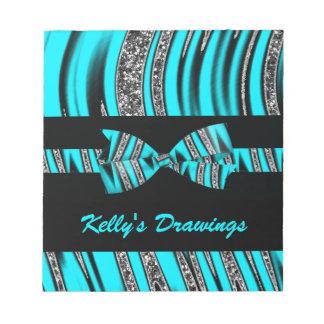 Turquoise Blue & Black Zebra Glitter Stripes Notepad