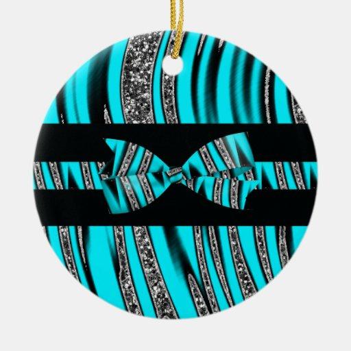 Turquoise Blue & Black Zebra Glitter Stripes Double-Sided Ceramic Round Christmas Ornament