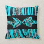 Turquoise Blue & Black Zebra Glitter Stripes Pillows