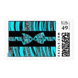 Turquoise Blue & Black Zebra Glitter Stripes Postage