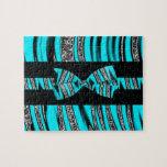 Turquoise Blue & Black Zebra Glitter Stripes Puzzles