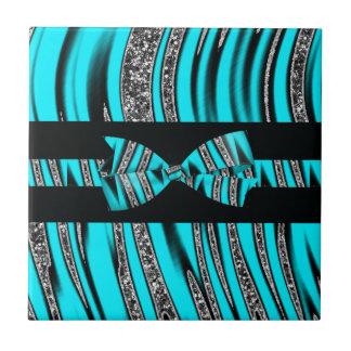 Turquoise Blue & Black Zebra Glitter Stripes Tile