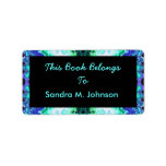 Turquoise Blue Bookplate Personalized Address Label