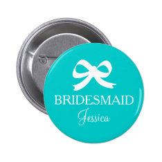 Turquoise Blue Bridesmaid Button For Wedding Party at Zazzle
