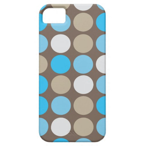 Turquoise Blue & Brown Dots Modern Pattern iPhone SE/5/5s Case