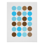 Turquoise Blue & Brown Dots Modern Pattern Poster