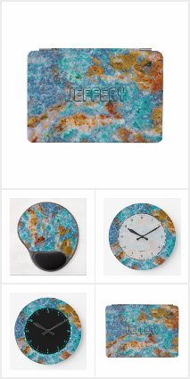 Turquoise-blue & Brown Marble Stone