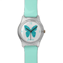 Turquoise Blue Butterfly on White Girly Name Wrist Watch