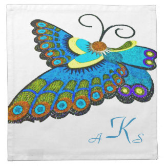 Turquoise Blue Butterfly with 3 Initial Monogram Cloth Napkins
