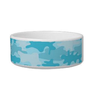Turquoise Blue Camo Camoflauge Custom Pet Bowl
