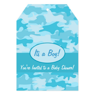 Turquoise Blue Camo Camouflage Baby Shower Card
