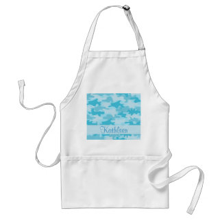 Turquoise Blue Camo Camouflage Name Personalized Adult Apron