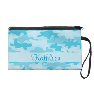 Turquoise Blue Camo Camouflage Name Personalized Wristlets