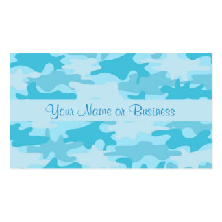 Turquoise Blue Camo Camouflage Name Personalized Business Card