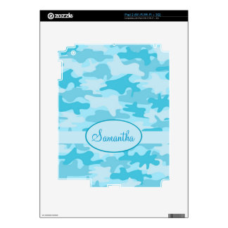 Turquoise Blue Camo Camouflage Name Personalized Decal For iPad 2