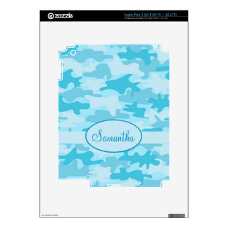 Turquoise Blue Camo Camouflage Name Personalized Decal For iPad 3