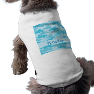 Turquoise Blue Camo Camouflage Name Personalized Doggie T Shirt