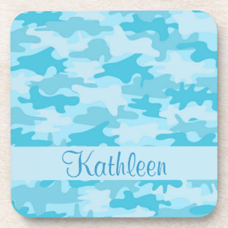 Turquoise Blue Camo Camouflage Name Personalized Drink Coaster