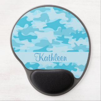 Turquoise Blue Camo Camouflage Name Personalized Gel Mouse Pad