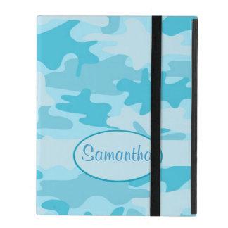 Turquoise Blue Camo Camouflage Name Personalized iPad Folio Cases
