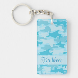 Turquoise Blue Camo Camouflage Name Personalized Keychain