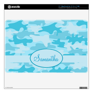 Turquoise Blue Camo Camouflage Name Personalized MacBook Air Decal