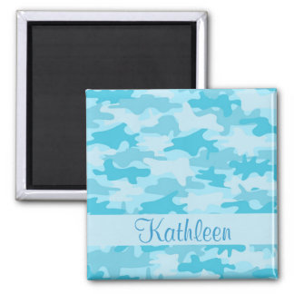 Turquoise Blue Camo Camouflage Name Personalized Magnets