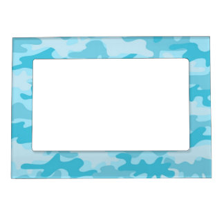 Turquoise Blue Camo Camouflage Name Personalized Magnetic Picture Frame