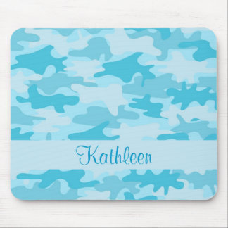 Turquoise Blue Camo Camouflage Name Personalized Mouse Pad