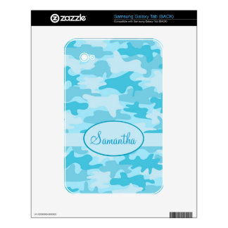 Turquoise Blue Camo Camouflage Name Personalized Samsung Galaxy Tab Decal