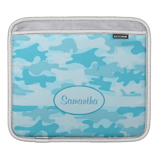 Turquoise Blue Camo Camouflage Name Personalized Sleeve For iPads