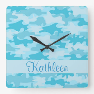 Turquoise Blue Camo Camouflage Name Personalized Square Wall Clock