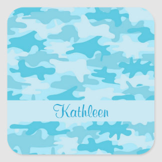 Turquoise Blue Camo Camouflage Name Personalized Sticker