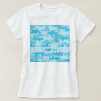 Turquoise Blue Camo Camouflage Name Personalized T-Shirt