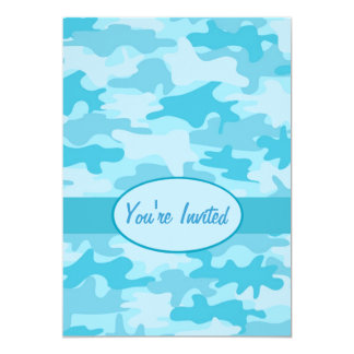 Turquoise Blue Camo Camouflage Party Event Card
