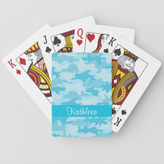 Turquoise Blue Camo Camouflage Personalized Poker Playing Cards