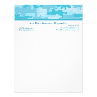 Turquoise Blue Camouflage Custom Stationery Letterhead