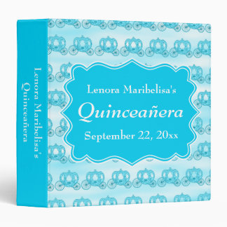 Turquoise Blue Carriages Quinceanera Binder