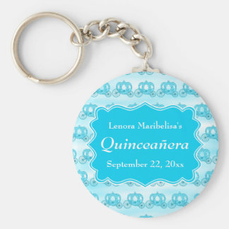 Turquoise Blue Carriages Quinceanera Key Chains
