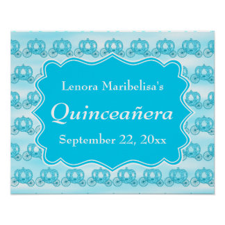 Turquoise Blue Carriages Quinceanera Posters